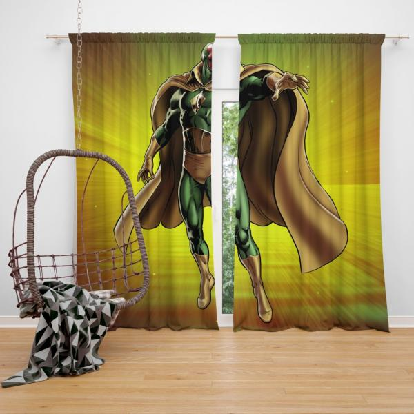 Vision Marvel Comics Avengers AI Bedroom Window Curtain