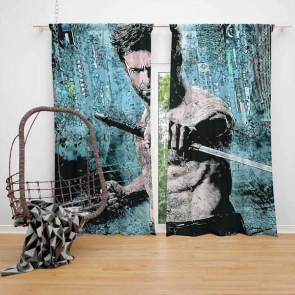 Wolverine Hugh Jackman Resurrection Marvel  Bedroom Window Curtain