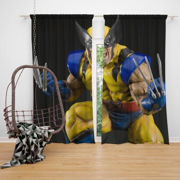 Wolverine X-Men Figurine Marvel Comics Bedroom Window Curtain
