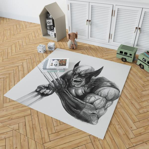 Wolverine and Hulk Fight Marvel Comics Bedroom Living Room Floor Carpet Rug