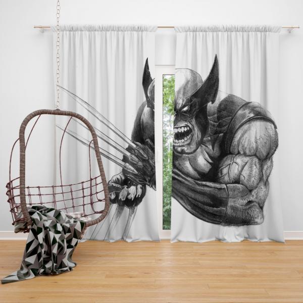 Wolverine and Hulk Fight Marvel Comics Bedroom Window Curtain