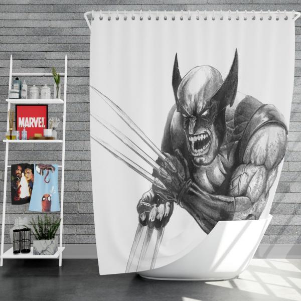 Wolverine and Hulk Fight Marvel Comics Shower Curtain