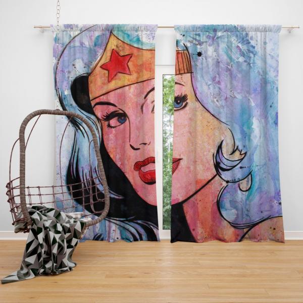 Wonder Woman Amazonian DC Comics Bedroom Window Curtain