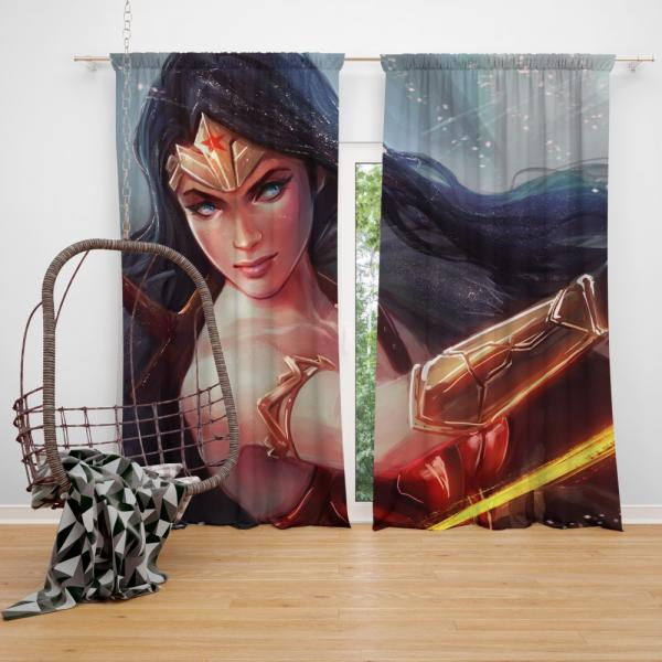 Wonder Woman DC Comics Woman Warrior Bedroom Window Curtain