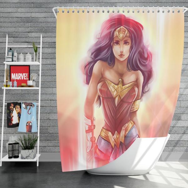 Wonder Woman Fan Art Digital Paint Shower Curtain