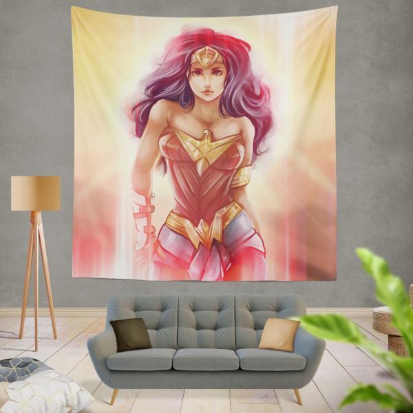 Wonder Woman Fan Art Digital Paint Wall Hanging Tapestry