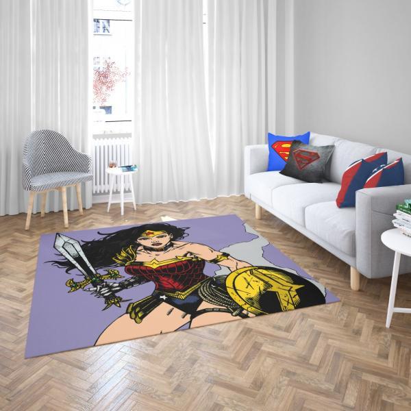 Wonder Woman Justice League DC Comics Bedroom Living Room Floor Carpet Rug