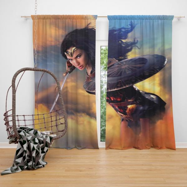 Wonder Woman Movie Diana of Themyscira Gal Gadot Bedroom Window Curtain