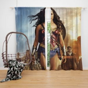 Wonder Woman Movie Gal Gadot Chris Pine Bedroom Window Curtain