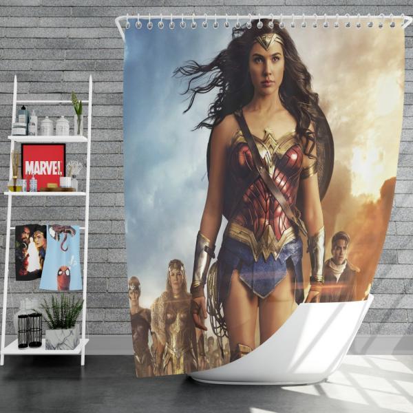 Wonder Woman Movie Gal Gadot Chris Pine Shower Curtain