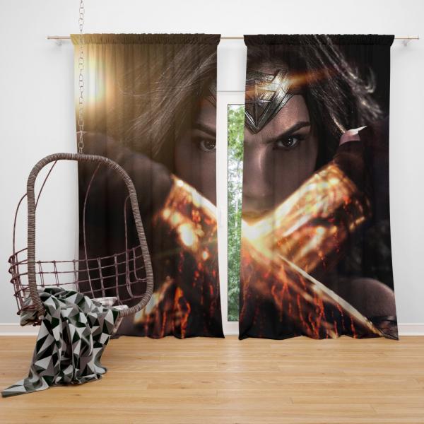 Wonder Woman in Batman v Superman Movie Bedroom Window Curtain