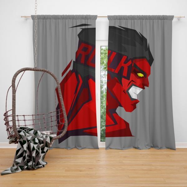 World War Hulks Marvel Comics Red Hulk Bedroom Window Curtain
