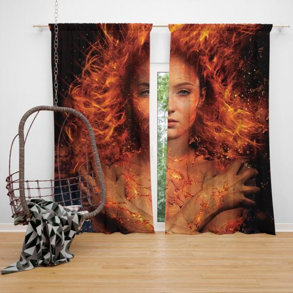 X Men Dark Phoenix Movie Sophie Turner Jean Grey Phoenix Marvel Bedroom Window Curtain